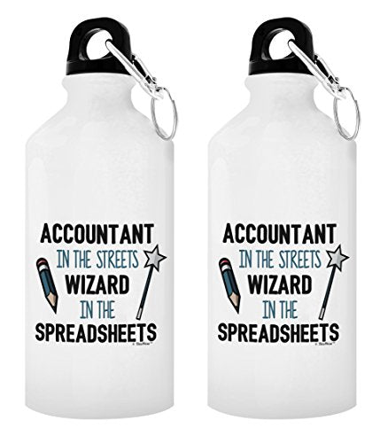 Gifts for Bookkeepers Accountant in the Streets Wizard in the Spreadsheets CPA Gifts for Men Comptroller Gift 2-Pack Aluminum Water Bottles with Cap & Sport Top White - onlinesportsmall