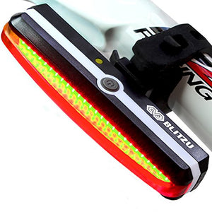 Ultra Bright Bike Light Blitzu Cyborg 168T USB Rechargeable Bicycle Tail Light. Red High Intensity Rear LED Accessories Fits On Any Road Bikes, Helmets. Easy To Install for Cycling Safety Flashlight - onlinesportsmall