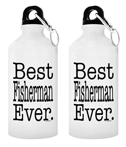 Bass Fishing Accessories Best Fisherman Ever Country Boy Gifts Country Décor Fly Fishing Saltwater Fishing Gift 2-Pack Aluminum Water Bottles with Cap & Sport Top White - onlinesportsmall
