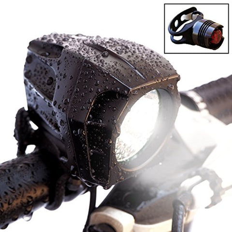 Bright Eyes Fully Waterproof 1600 Lumen Rechargeable Mountain, Road Bike Headlight, 6400mAh Battery (Now 5+ Hours on Bright Beam). Comes w/Free Diffuser Lens and Free TAILLIGHT - onlinesportsmall