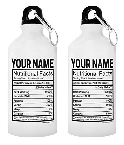 Personalized Nursing Gifts Custom Nurse Name Nurtritional Facts Nurse Appreciation Gifts Nurse Practitioner Gifts Personalized Gift 2-Pack 20-oz Aluminum Water Bottles with Carabiner Clip Top White - onlinesportsmall