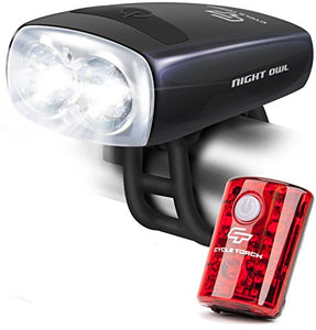 Cycle Torch Night Owl USB Rechargeable Bike Light Set, Perfect Commuter Safety Front and Back Bicycle Light LED Combo - Free Bright Tail Light - Compatible with Mountain, Road, Kids & City Bicycles - onlinesportsmall