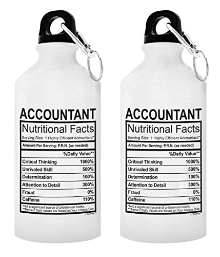 Gifts for Accountants Accountant Nutritional Facts CPA Gifts for Men Bookkeeper Gift 2-Pack Aluminum Water Bottles with Cap & Sport Top White - onlinesportsmall