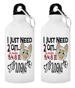 Cat Gift Set I Just Need Cats Stop Judging Me Cat Mom Gifts Cat Lover Gifts for Men Pet Gifts Kitty Gifts 2-Pack Aluminum Water Bottles with Cap & Sport Top White - onlinesportsmall