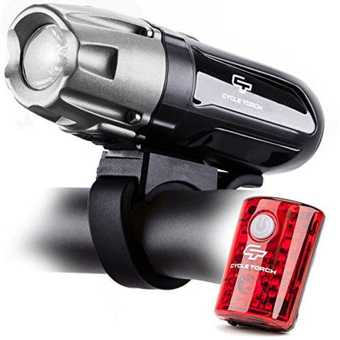 Cycle Torch Shark 550R USB Rechargeable Bike Light Set, Removable Battery- Free USB LED Tail Light - Bicycle Light - Easy Install & Quick Release - onlinesportsmall