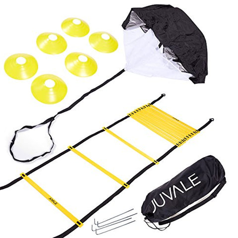 Juvale Speed and Agility Training Set - Includes Agility Ladder with Carrying Bag, 6 Disc Cones, Resistance Parachute, 4 Steel Stakes - for Speed, Coordination, Footwork, Explosiveness, Black, Yellow - onlinesportsmall