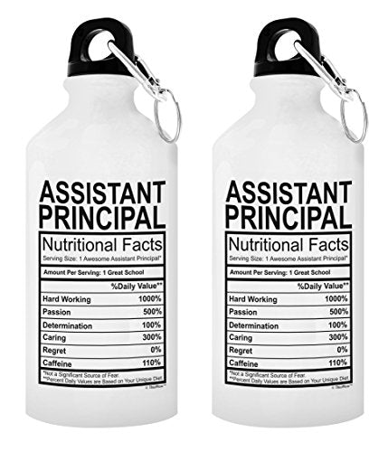 Dean Gifts Assistant Principle Nutritional Facts Principal Gifts for Women Teachers Appreciation Week Gift 2-Pack Aluminum Water Bottles with Cap & Sport Top White - onlinesportsmall