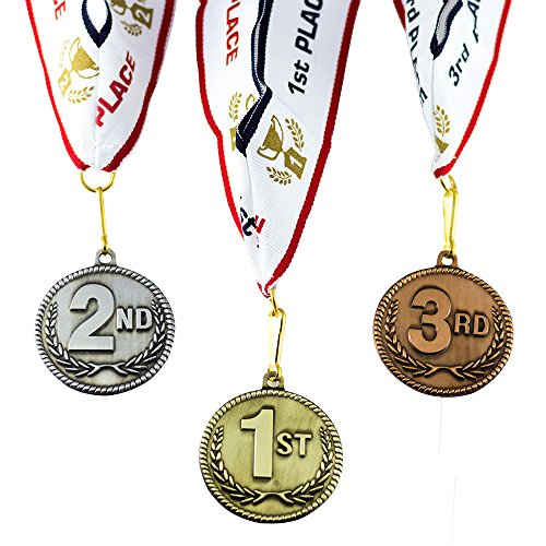 1st 2nd 3rd Place High Relief Award Medals - 3 Piece Set (Gold, Silver, Bronze) Includes Neck Ribbon - onlinesportsmall