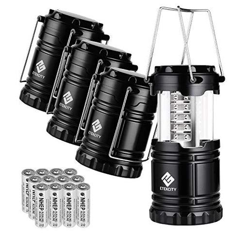 Etekcity 4 Pack Portable LED Camping Lantern with 12 AA Batteries - Survival Kit for Emergency, Hurricane, Power Outage (Black, Collapsible) (CL10) - onlinesportsmall