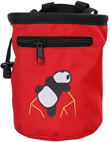 AMC Rock Climbing Panda Embroidered Chalk Bag w/ Zip Pocket, Red, 6 H x 4 D - onlinesportsmall