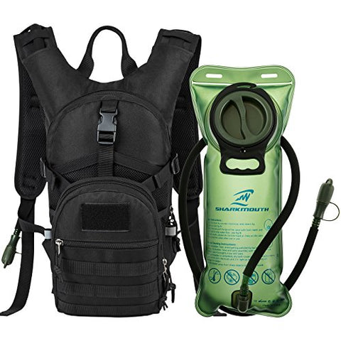 SHARKMOUTH Tactical MOLLE Hydration Pack Backpack 900D with 2L Leak-Proof Water Bladder, Keep Liquids Cool for Up to 4 Hours, Outdoor Daypack for Cycling, Hiking, Running, Climbing, Hunting - onlinesportsmall