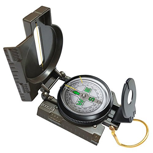 Eaggle Multifunctional Military Compass, Amy Green, Waterproof and Shakeproof, Compass for Outdoor, Camping, Hiking, Military Usage, Gifts - onlinesportsmall