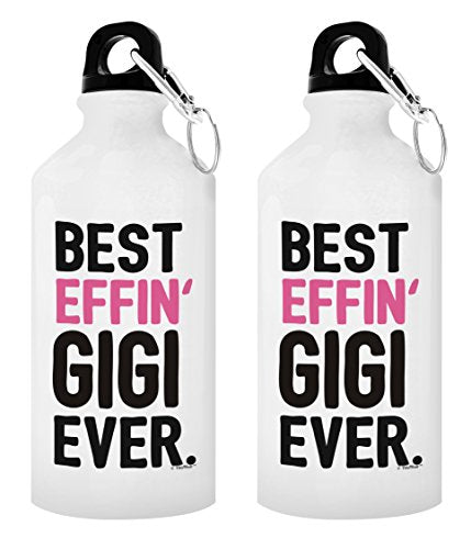 Mother's Day Gifts for Gigi Grandma Best Effin' Gigi Ever Gift Ideas for Gigi Gifts from Granddaughter 2-Pack Aluminum Water Bottles with Cap & Sport Top White - onlinesportsmall