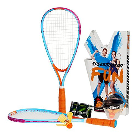 Speedminton SM01-FUN-10 Fun Set - Alternative to Beach Ball, Spike Ball, Badminton, incl. 1 Heli and one Fun Speeder, Perfect for The Beach, Park or Backyard - onlinesportsmall