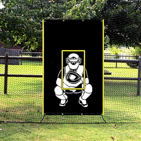 Vanta Sports Baseball Softball Heavy Vinyl 4x6 Backstop Net Saver with Catcher Image and Pitching Zone Target Trainer - onlinesportsmall