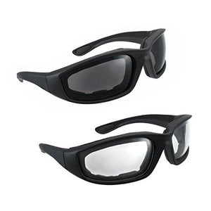Motorcycle Riding Glasses - 2 Pair Smoke & Clear Biker Foam Pad - onlinesportsmall