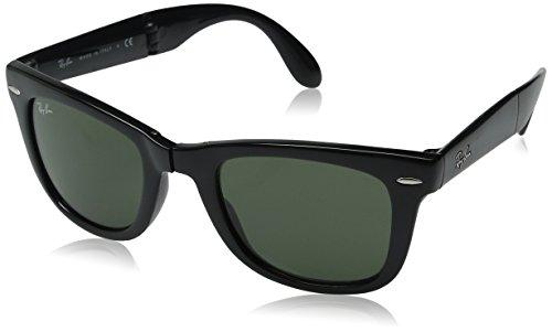 Ray-Ban FOLDING WAYFARER - BLACK Frame CRYSTAL GREEN Lenses 50mm Non-Polarized - onlinesportsmall