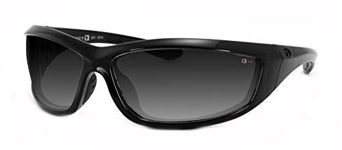 Bobster Charger ECHA001 Oval Sunglasses,Black Frame/Smoke Lens,One Size - onlinesportsmall