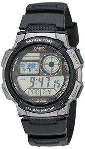 Casio Men's AE1000W-1BVCF Silver-Tone and Black Digital Sport Watch with Black Resin Band - onlinesportsmall