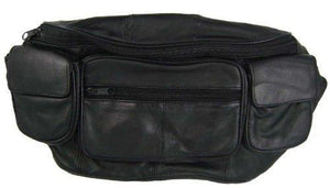 Large Black Genuine Lambskin Leather Fanny Pack Waist Bag with Cell Phone Pouch - onlinesportsmall
