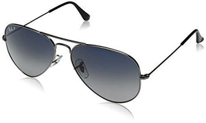 Ray-Ban AVIATOR LARGE METAL - GUNMETAL Frame CRYSTAL POLAR BLUE GRAD.GREY Lenses 58mm Polarized - onlinesportsmall