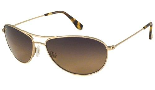 Maui Jim Baby Beach HS245-16 Polarized Aviator Sunglasses,Gold Frame/HCL Bronze Lens,One Size - onlinesportsmall