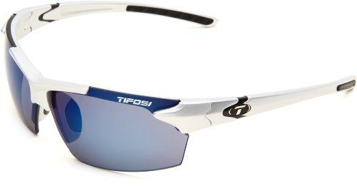 Tifosi Jet 0210400677 Wrap Sunglasses,Metallic Silver Frame/Smoke & Blue Lens,One Size - onlinesportsmall