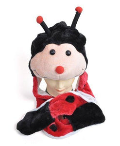 Plush Animal Winter Hats with Paws, Long Mittens - Many Different Animals, LadyBug - onlinesportsmall