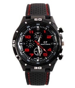 Fanmis GT Racing Sport Watch Military Pilot Aviator Army Style Black Silicone Red Men's Watches - onlinesportsmall