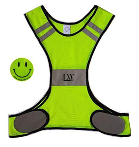 LW Reflective Biking Vest Running Cycling Walking Yellow Safety (S/M) - onlinesportsmall