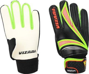 Vizari Junior Match Glove, Black/Orange/Green, Size 4 - onlinesportsmall