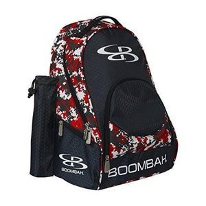 "Boombah Tyro Baseball / Softball Bat Backpack - 20"" x 15"" x 10"" - Camo Black/Red - Holds 2 Bats up to Barrel Size of 2-5/8"" - onlinesportsmall"
