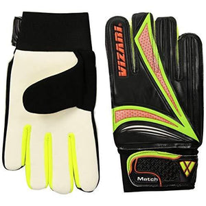 Vizari Junior Match Glove, Black/Orange/Green, Size 9 - onlinesportsmall