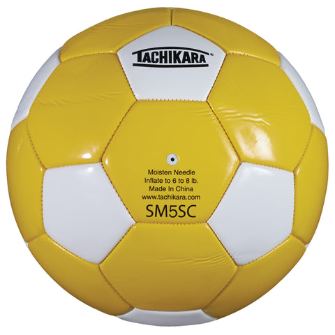 Tachikara SM5SC Recreational Soccer Ball (Size 5, Gold and White)