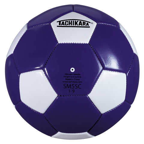 Tachikara SM5SC Recreational Soccer Ball (Size 5, Purple and White)