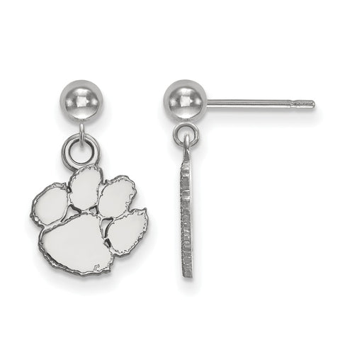 Sterling Silver LogoArt Clemson University Earrings Dangle Ball - onlinesportsmall