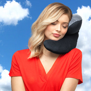 J-pillow travel pillow - Two-tone black & gray