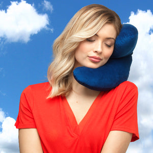 J-pillow travel pillow - Plain blue