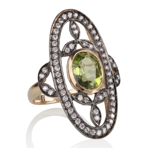 1.99ct Peridot with Diamonds set in 9ct Gold & Black Rhodium Accents