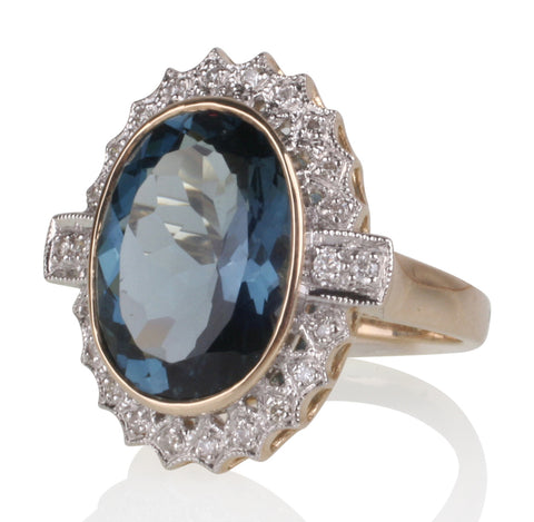 10.52ct London Blue Topaz Cocktail Ring with Diamond Surround in 9ct Gold