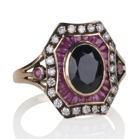 Black Onyx, Ruby & Diamond Ring with Black Rhodium Accents in 9ct Yellow Gold