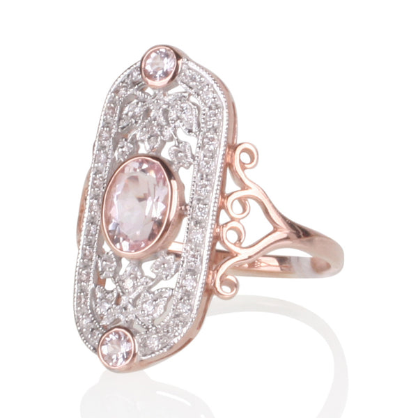 Morganite & Diamond Finely Crafted Ring in 9ct Rose Gold