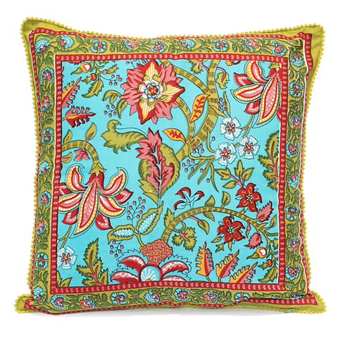 Square Blue Floral Printed Cotton Cushion with Pom Pom Edging