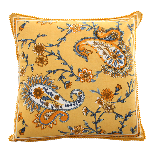 Square Sunshine Printed Cotton Cushion with Pom Pom Edging