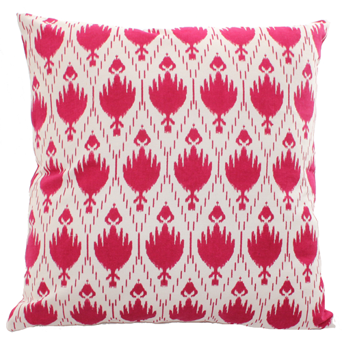 Square Pink Patterned Printed Cotton Cushion with Pom Pom Edging