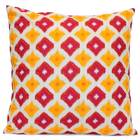 Square Pink & Yellow Printed Cotton Cushion with Pom Pom Edging