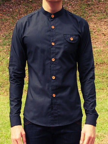 Grandad Collar Shirt - Black (Sold Out)