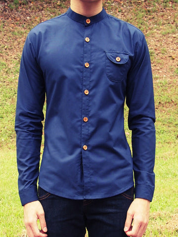 Grandad Collar Shirt (Navy Blue) - (Sold out)
