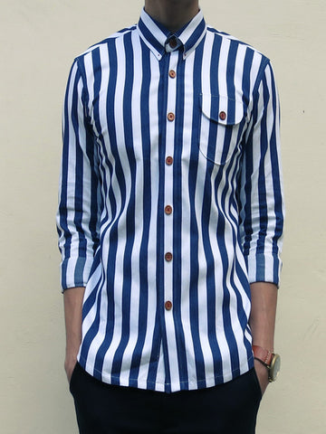 Nautical Stitch-down Collar Shirt (Navy Blue)
