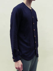 Collarless Curve-hem Shirt (Black)